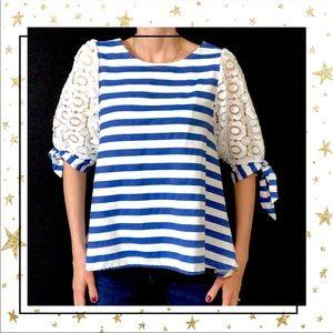 Tops - Mori's Edge Women's Blue&White Striped  Top (B6)